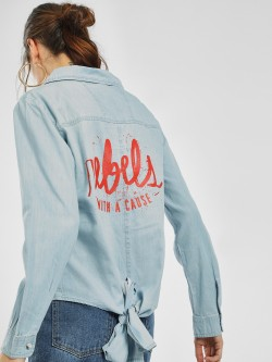 Blue Saint Slogan Back Knot Denim Top