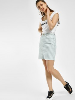 Blue Saint Striped Frayed Hem Mini Skirt