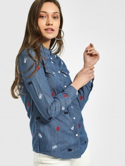 Blue Saint Skull Embroidered Denim Shirt