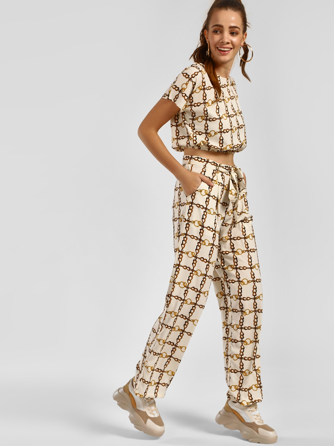 The Gud Look Print Chain Print Tie-Up Trousers 1