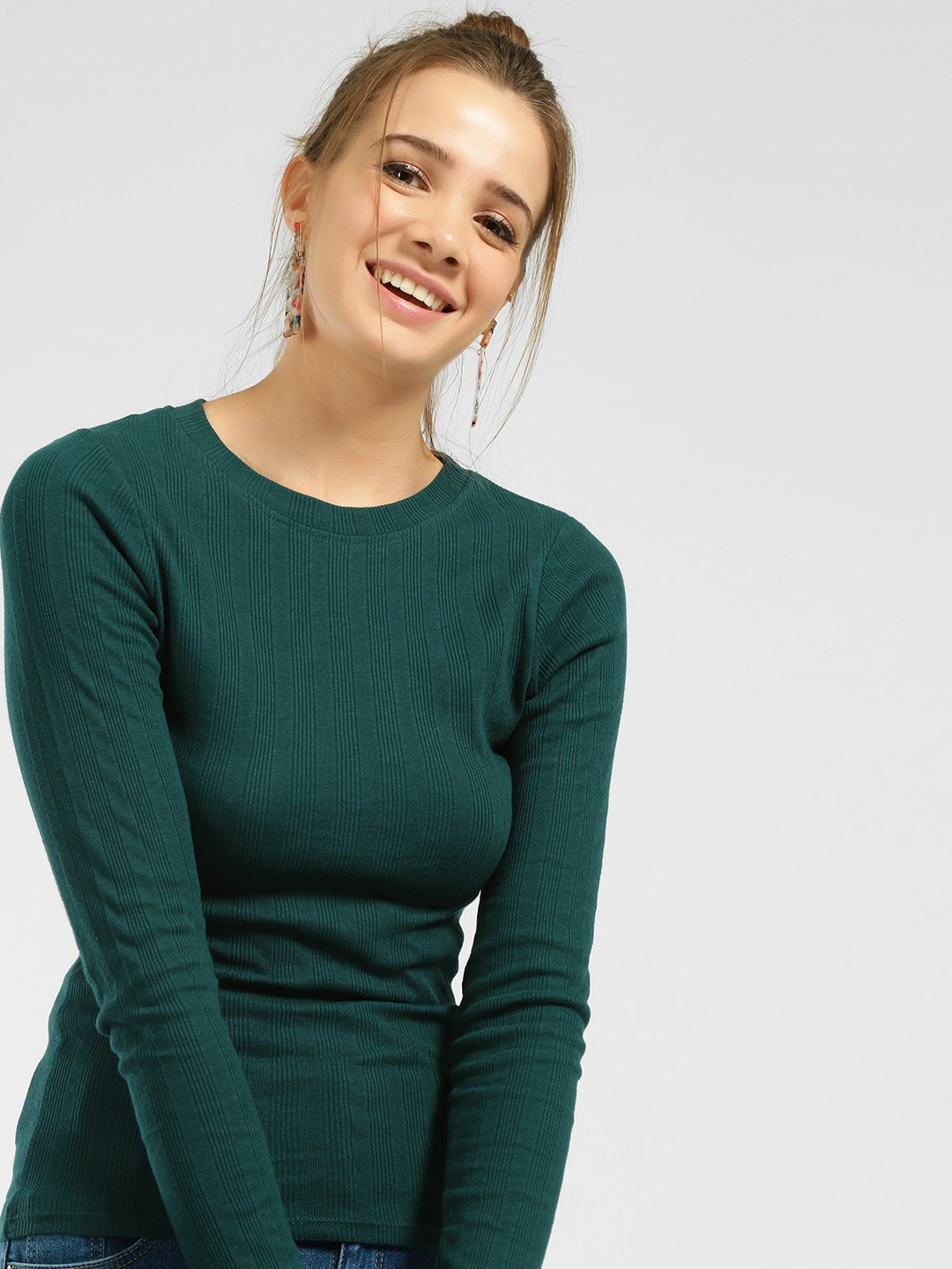 New Look Green Long Sleeve Ribbed Top 1
