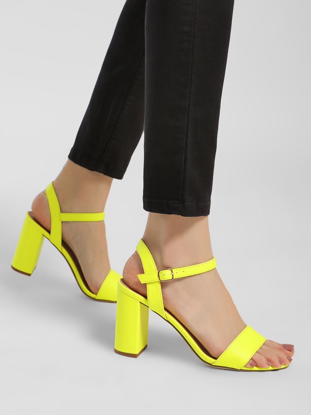 New Look Yellow Barely There Block Heel Sandals 1