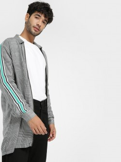 KOOVS Contrast Tape Glen Check Jacket