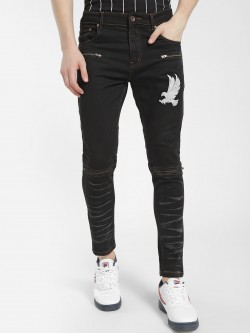 K Denim KOOVS Multi-Zipper Eagle Print Jeans