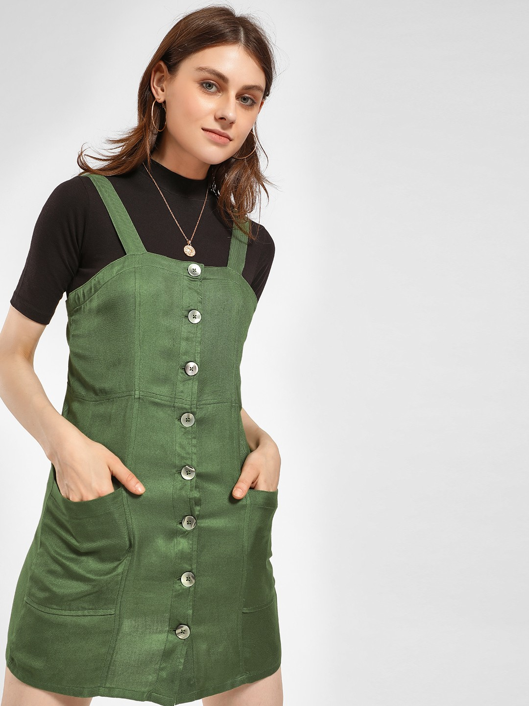 KOOVS Green Twin Pocket Pinafore Dress 1