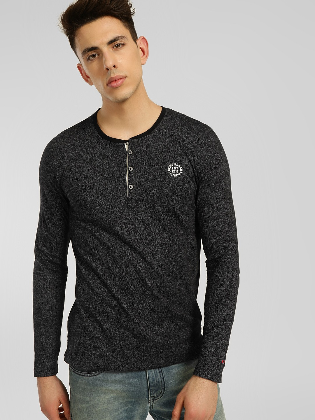 Being Human Black Textured Knit Henley T-Shirt 1