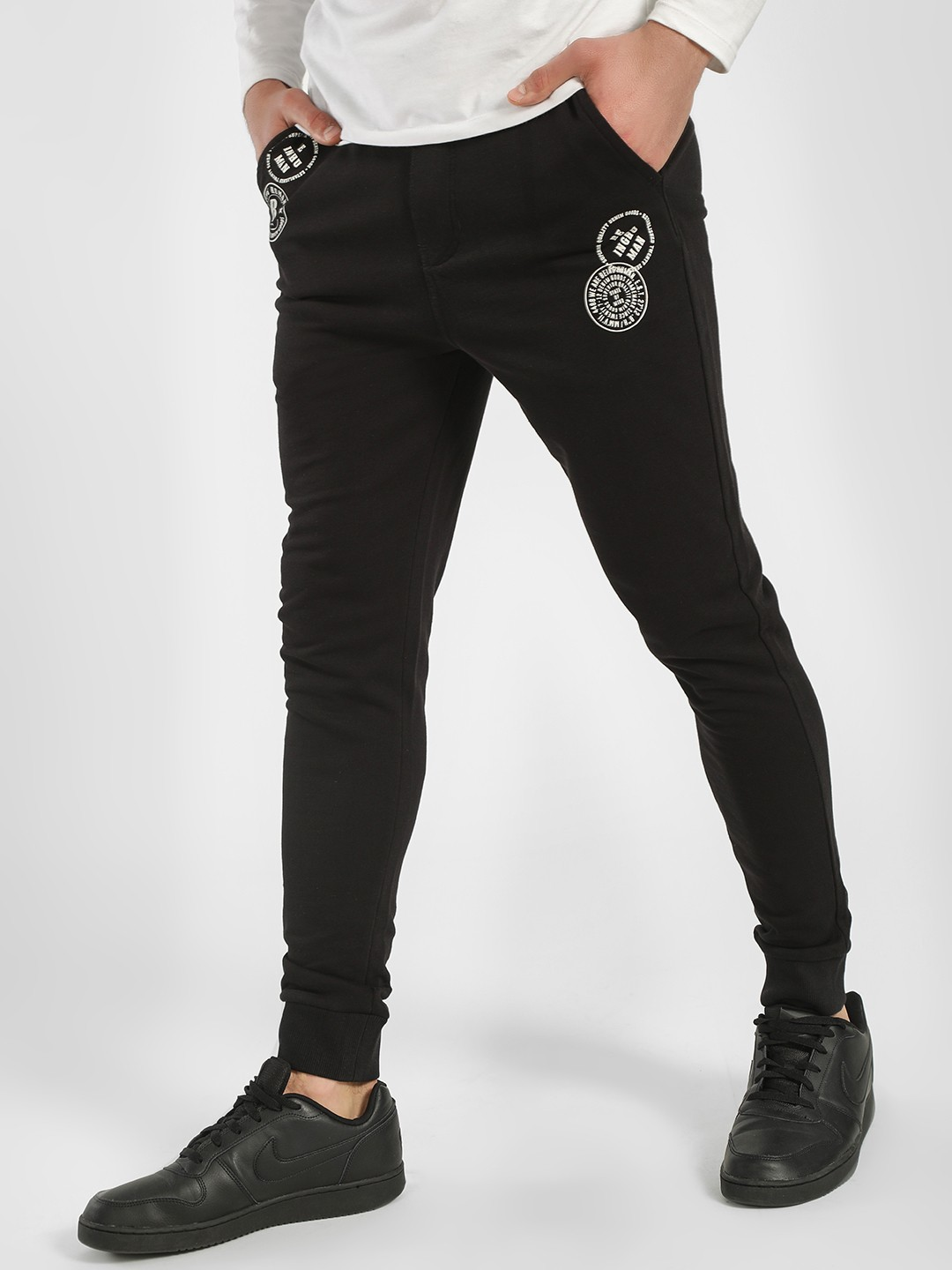 Being Human Black Logo Patch Print Knitted Joggers 1