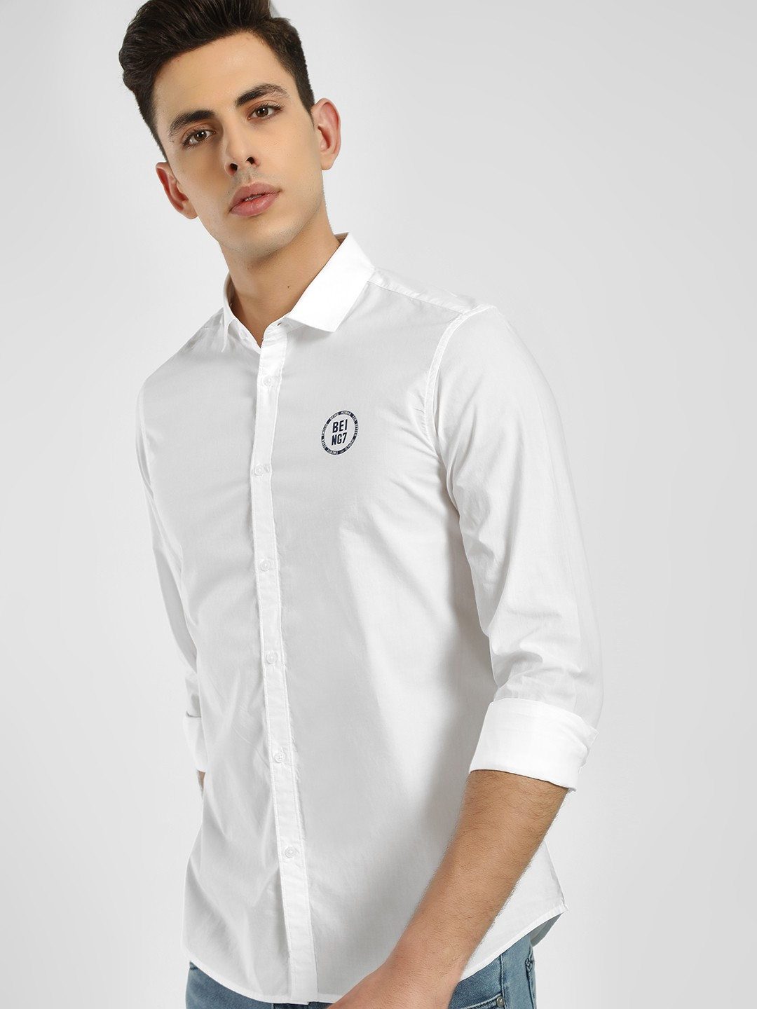 Being Human White Basic Logo Print Shirt 1