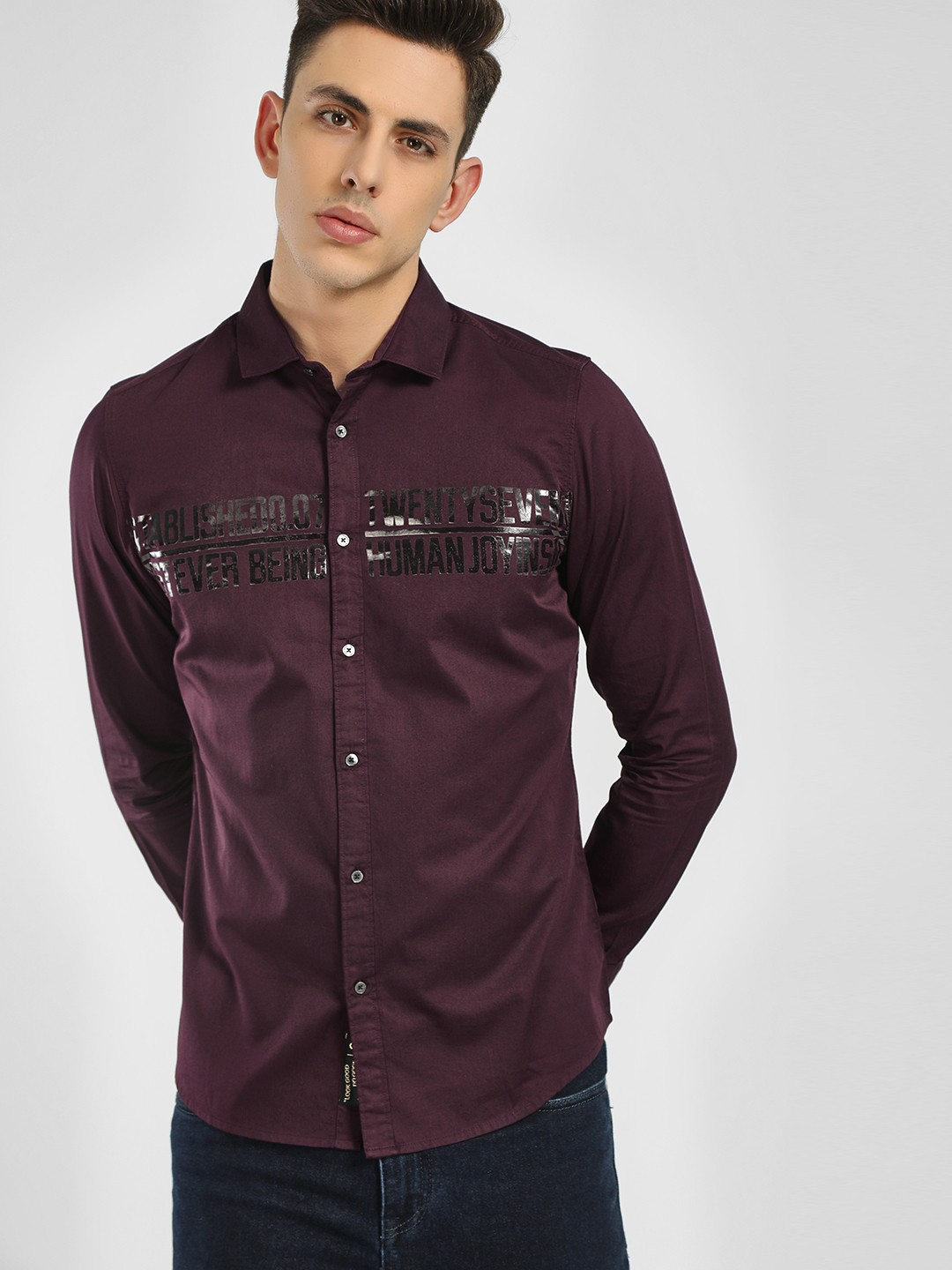 Being Human Maroon Text Embossed Long Sleeve Shirt 1