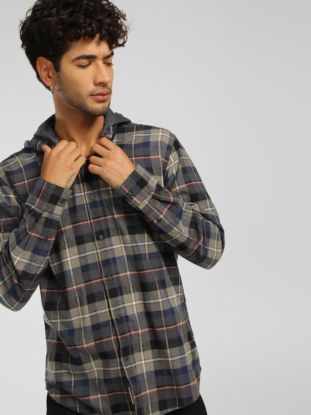 Being Human Multi Flannel Check Hooded Shirt 1