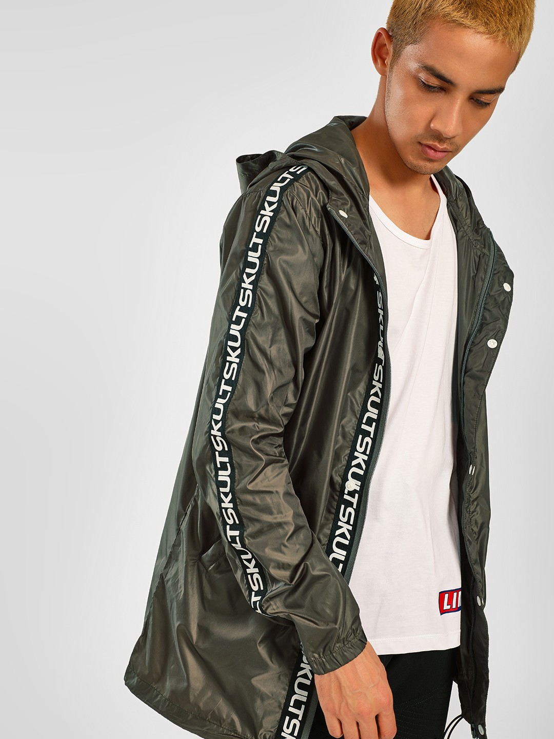 SKULT By Shahid Kapoor Green Text Tape Hooded Jacket 1