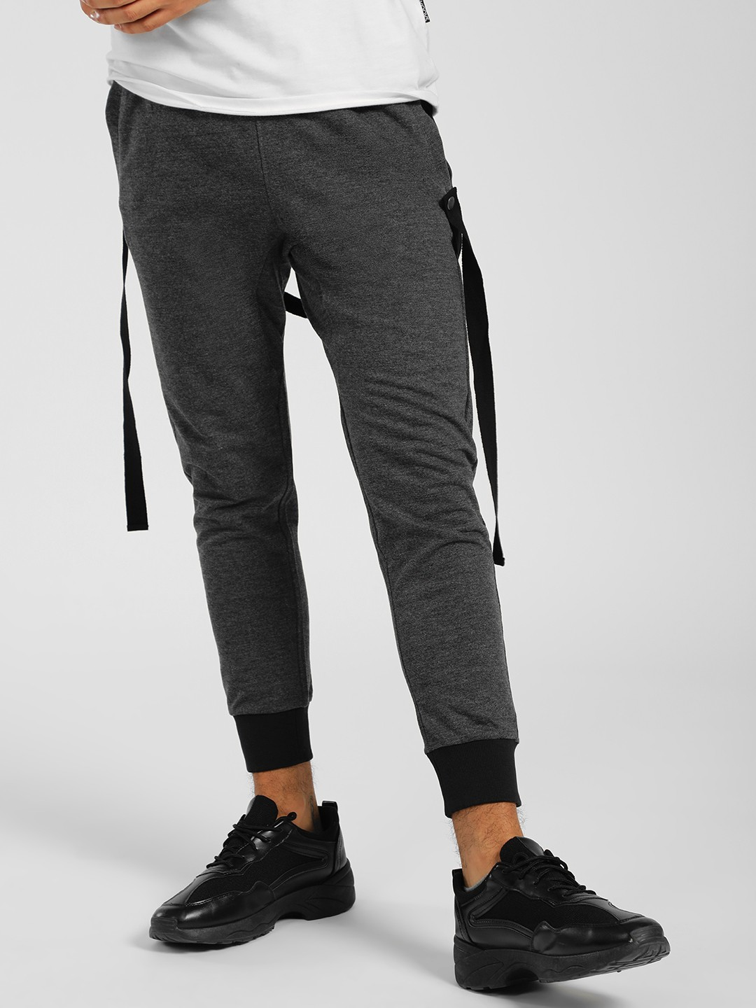 SKULT By Shahid Kapoor Grey Cropped Tape Detail Joggers 1