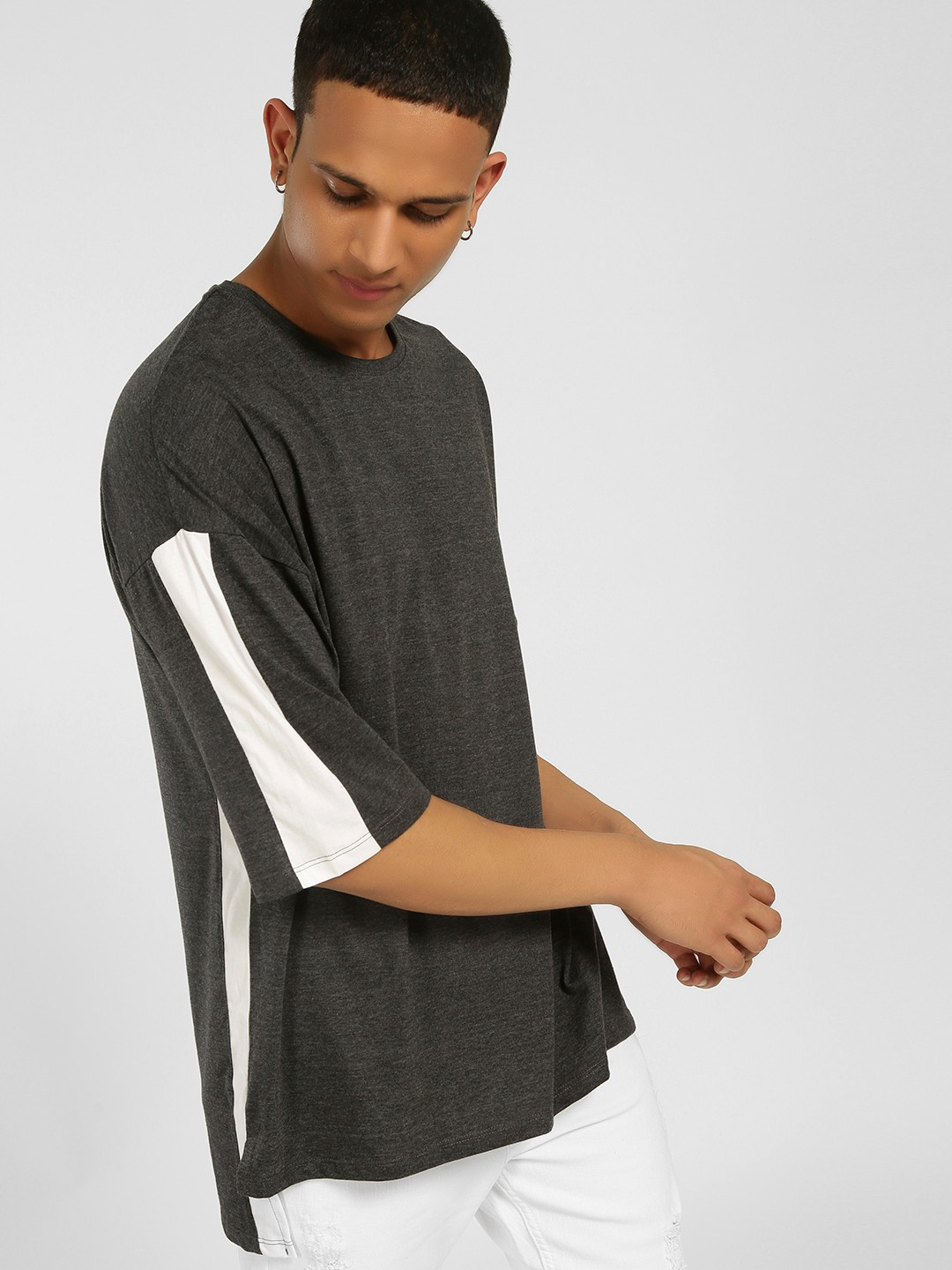 SKULT By Shahid Kapoor Grey Contrast Side Tape T-Shirt 1