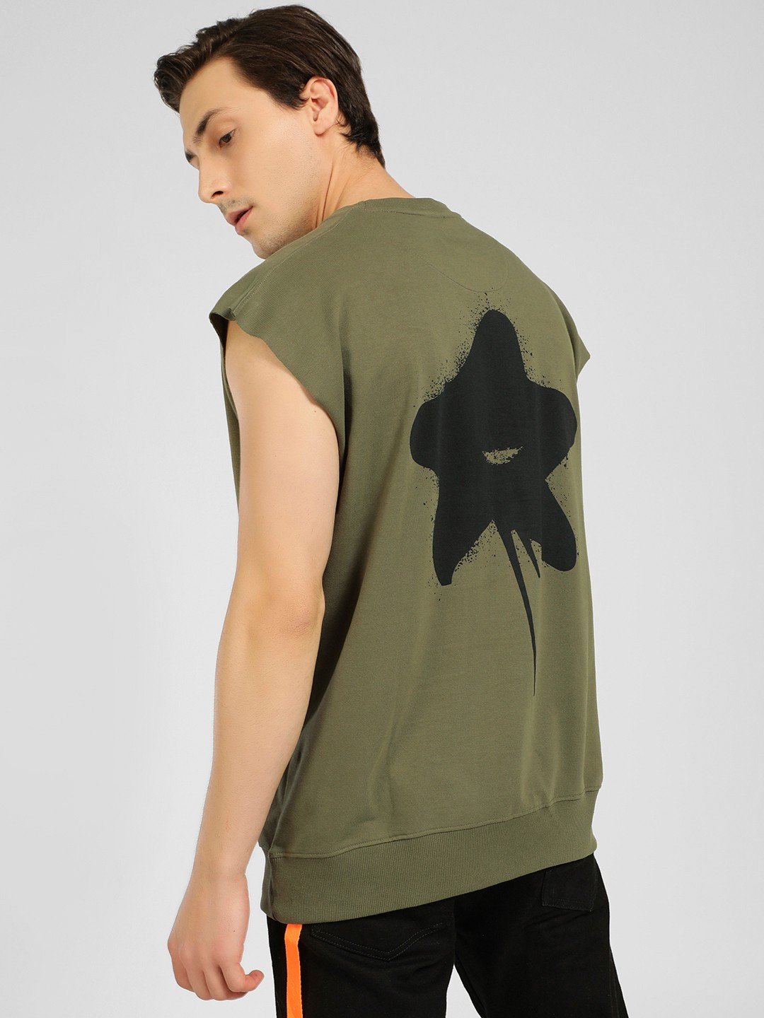 SKULT By Shahid Kapoor Green Cap Sleeve Back Print T-Shirt 1