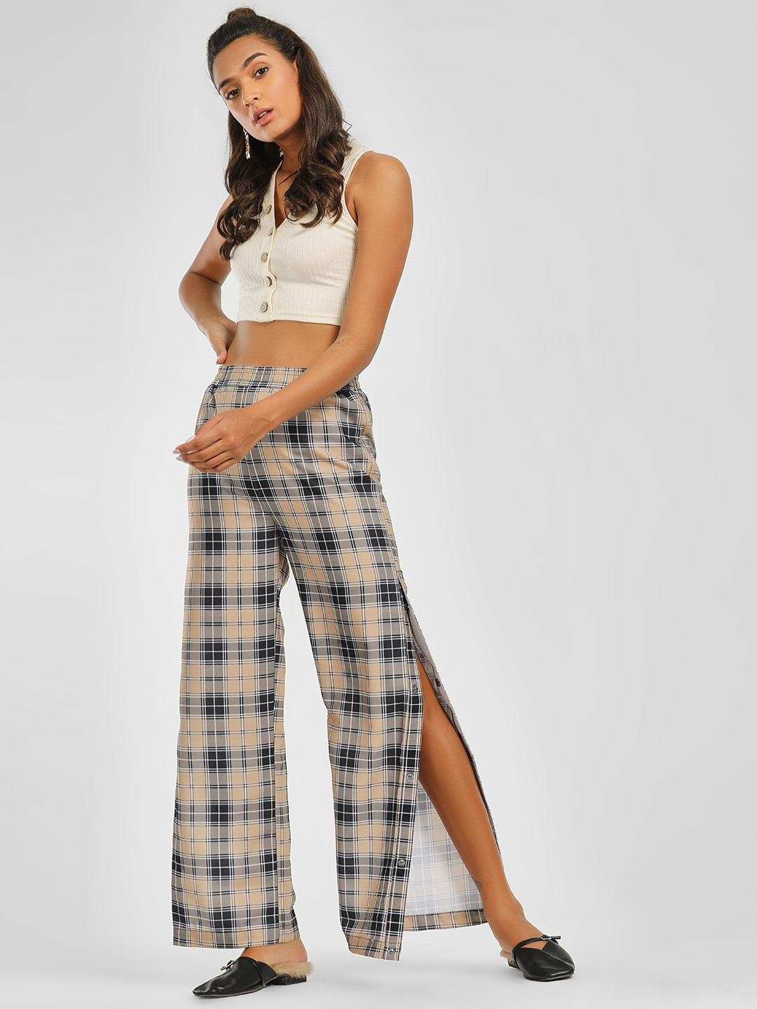 KOOVS Multi Side Button Plaid Check Palazzo Pants 1