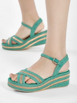KOOVS Suede Metallic Stacked Wedges