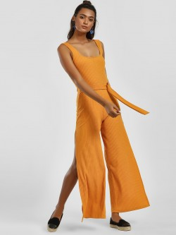 KOOVS All Over Ribbed Buckle Jumpsuit