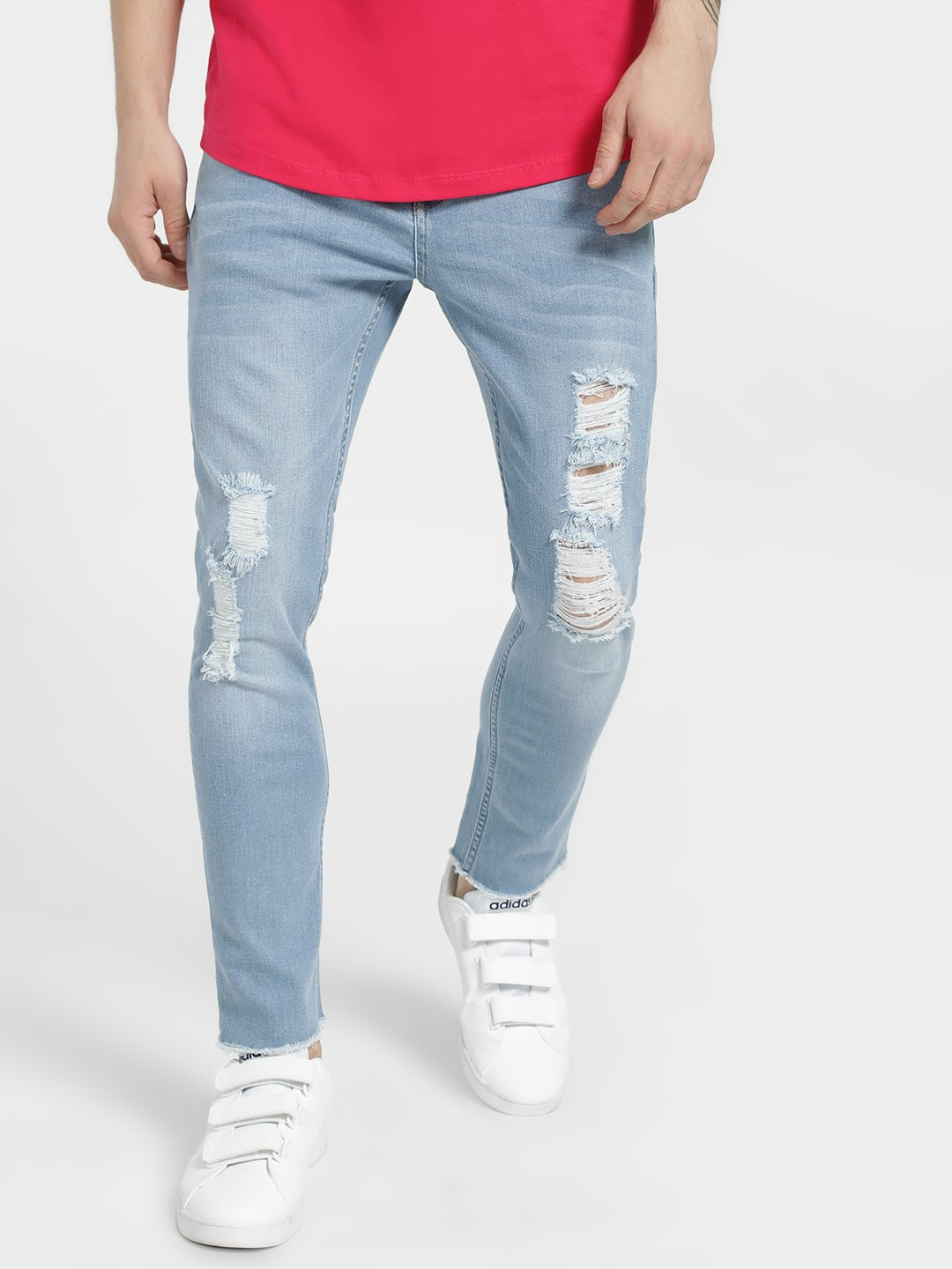 X.O.Y.O Blue Distressed Light Wash Slim Jeans 1