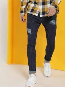 X.O.Y.O Distressed Biker Panel Slim Jeans