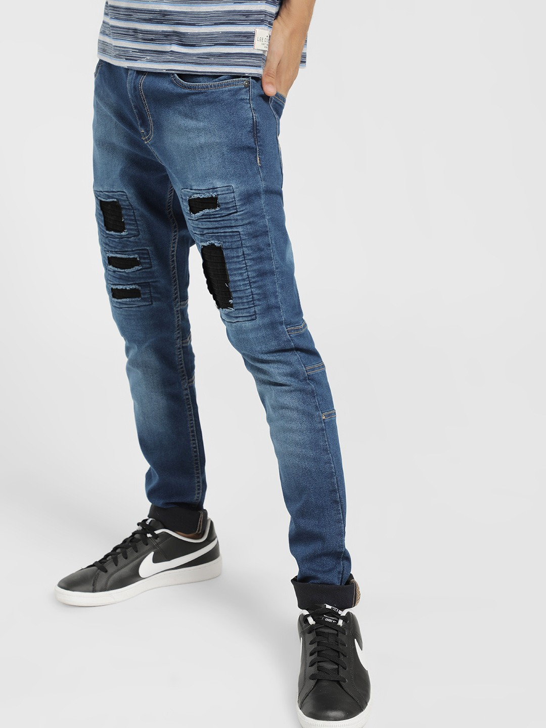 X.O.Y.O Blue Mid-Wash Patch Panelled Slim Jeans 1