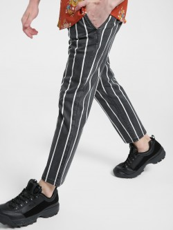 X.O.Y.O Light Wash Stripe Drawcord Slim Trousers