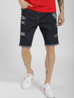 X.O.Y.O Distressed Knee Length Denim Shorts