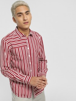 X.O.Y.O Asymmetric Stripe Casual Shirt