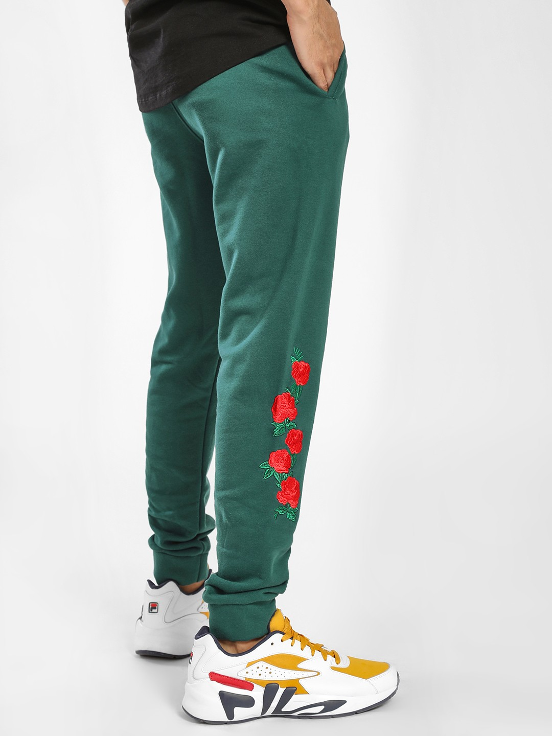 X.O.Y.O Green Floral Embroidered Patch Joggers 1