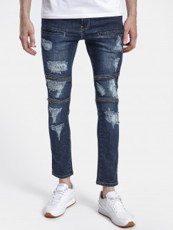 Styx & Stones Dark Wash Zipper Panel Slim Jeans