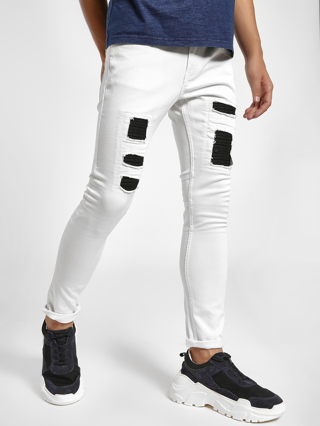 Styx & Stones White Distressed Inner Patch Slim Jeans 1