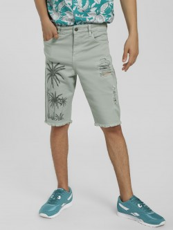 X.O.Y.O Palm Print Distressed Shorts