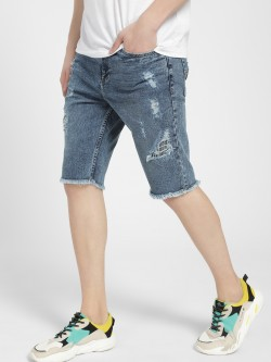 Styx & Stones Distressed Raw Hem Denim Shorts