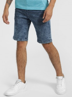 Styx & Stones Vertical Stripe Light Wash Shorts
