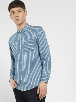Styx & Stones Vertical Stripe Denim Shirt