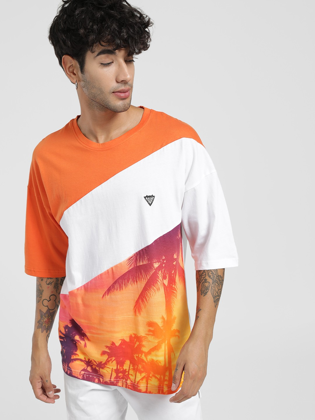Styx & Stones Orange Graphic Tropical Print Boxy T-Shirt 1