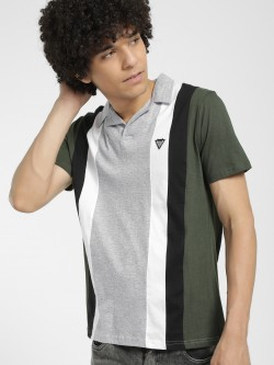 Styx & Stones Vertical Stripe Colour Block Polo Shirt