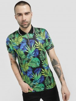 KOOVS Tropical Print Polo Shirt