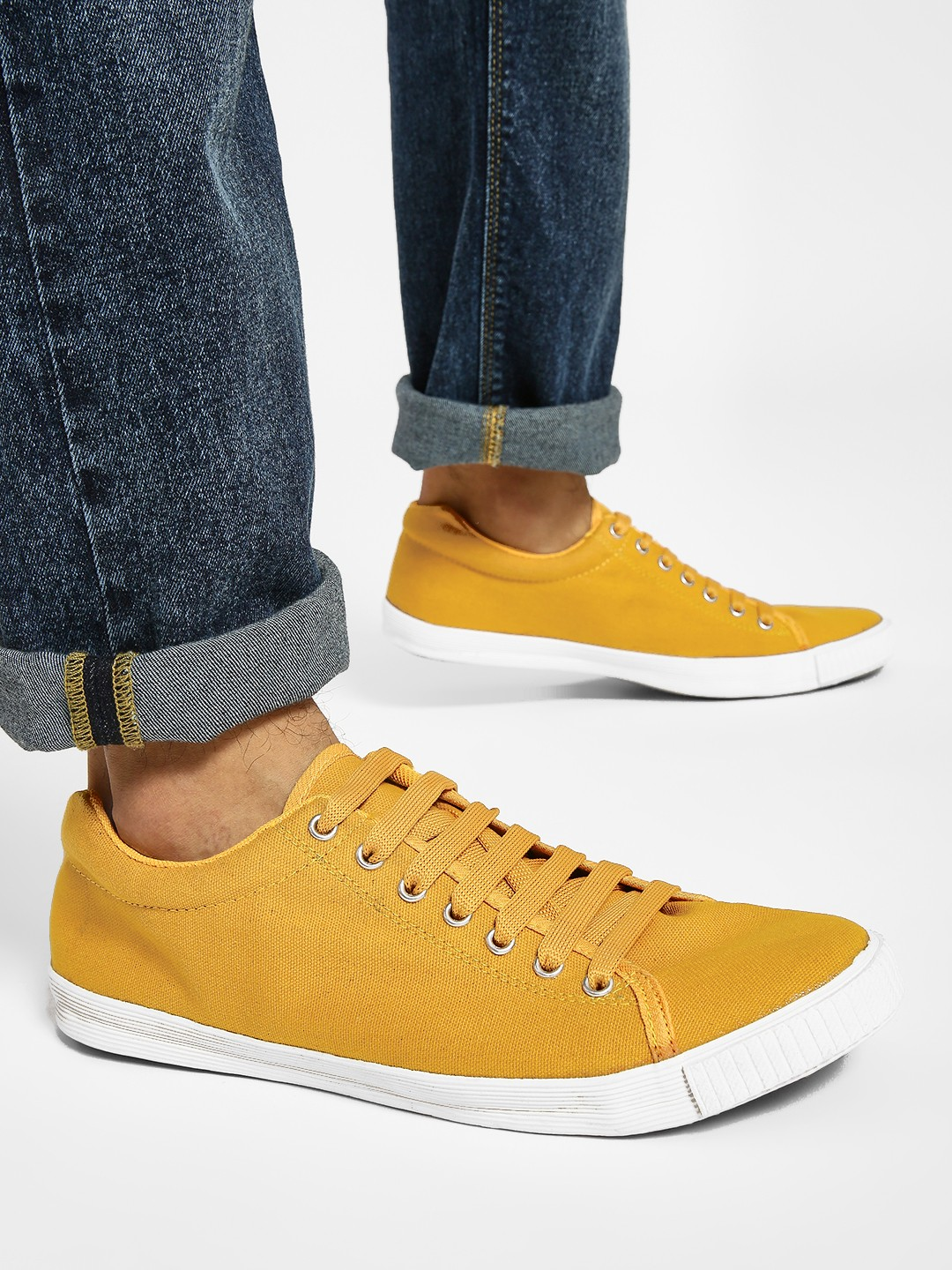 KOOVS Yellow Basic Lace-Up Sneakers 1