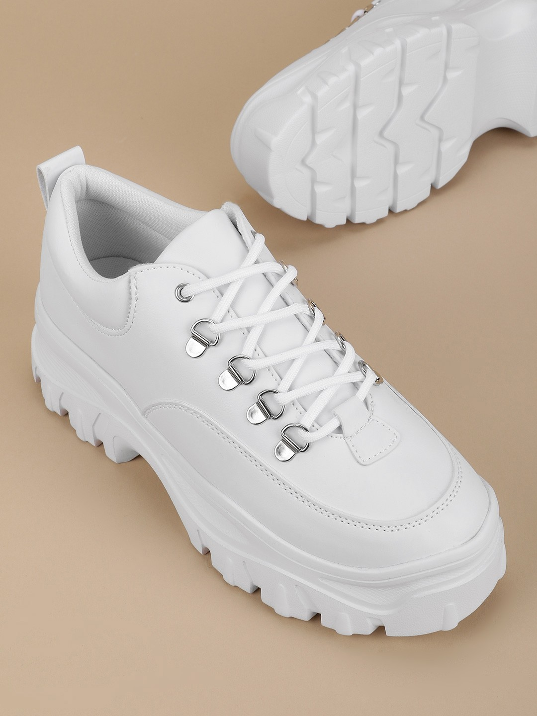 Truffle Collection White Chunky Sole Trainers 1