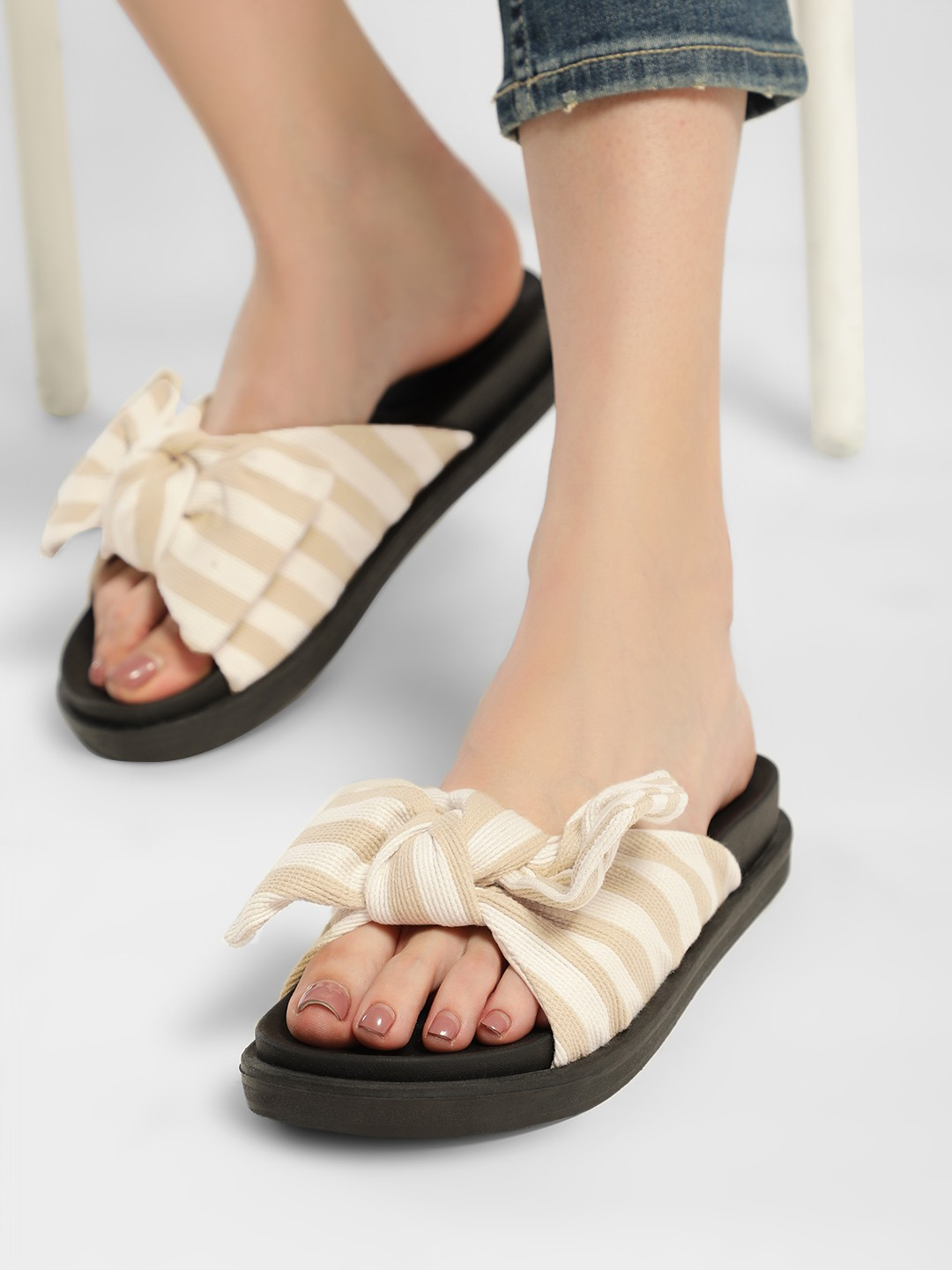 Truffle Collection Nude Striped Bow Detail Slides 1