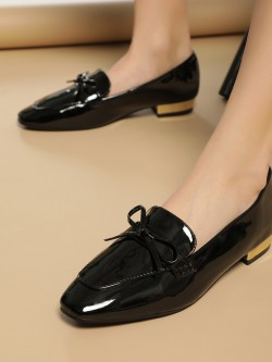 Truffle Collection Patent Bow Detail Flat Shoes