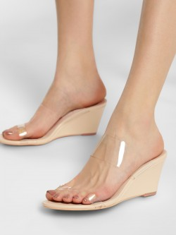 Truffle Collection Twin Perspex Strap Wedges