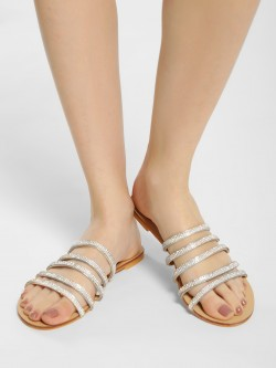 Truffle Collection Embellished Multi Strap Slides