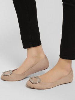 Truffle Collection Embellished Buckle Detail Ballerinas