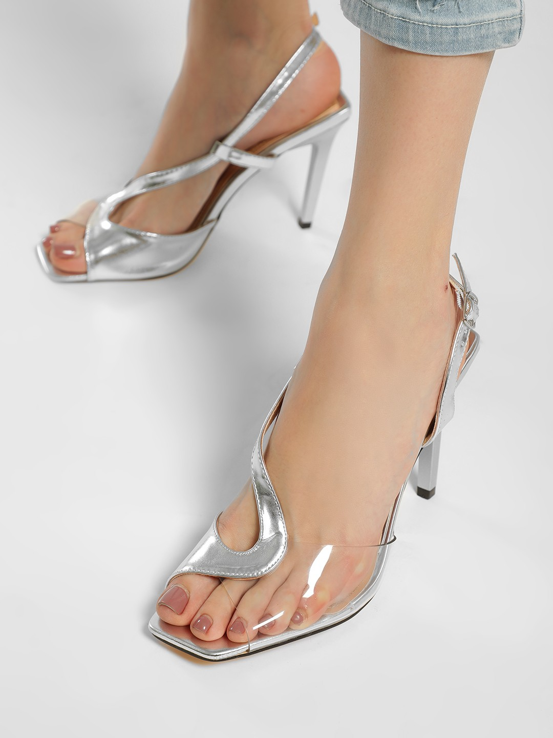 Truffle Collection Silver Asymmetric Perspex Suede Strap Heeled Pumps 1