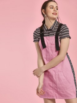 K Denim KOOVS Checkerboard Love Tape Pinafore Dress
