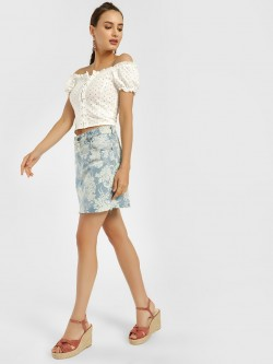 K Denim KOOVS Floral Bleach Wash Denim Skirt