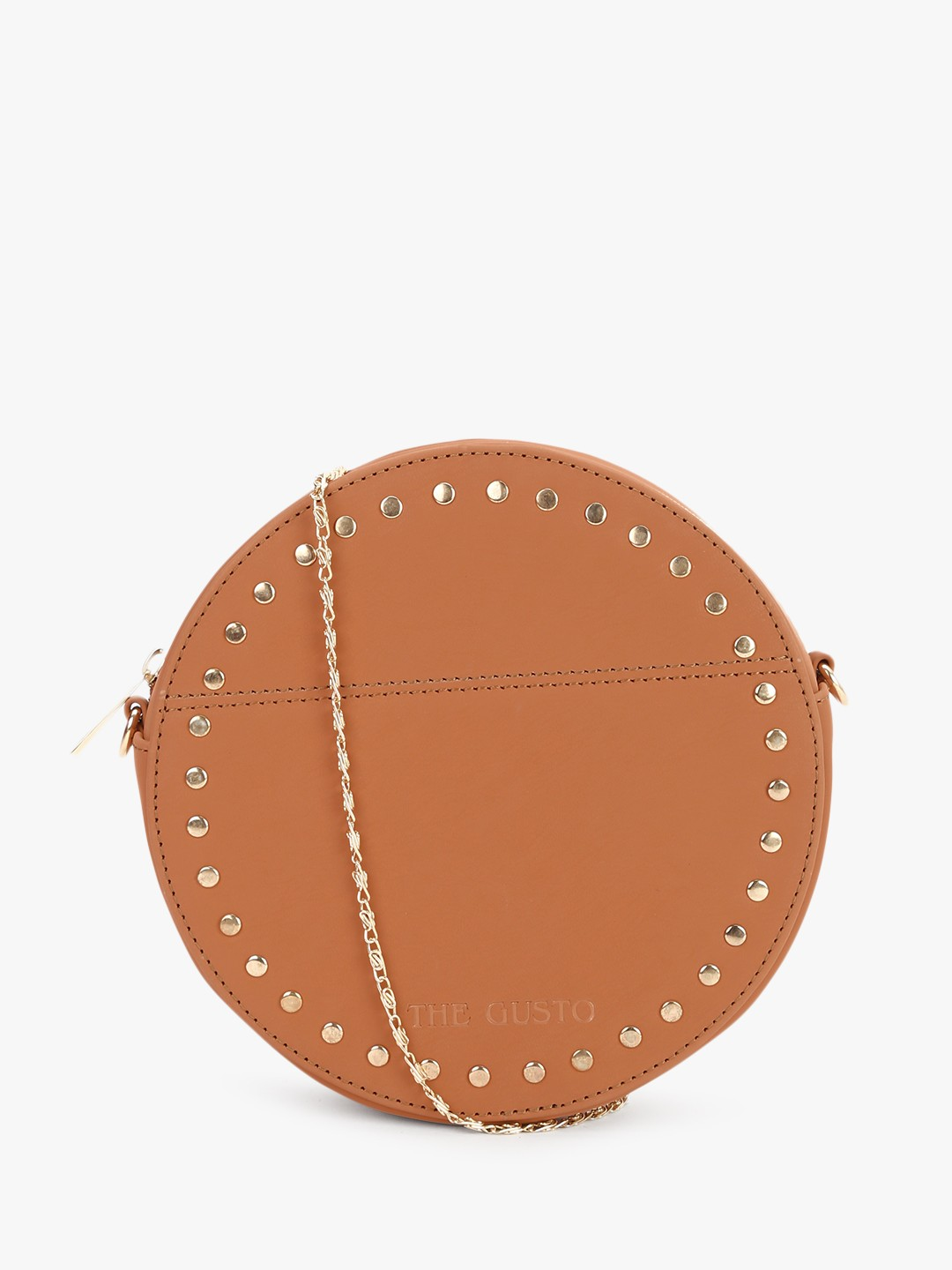 Gusto Brown Studded Round Sling Bag 1