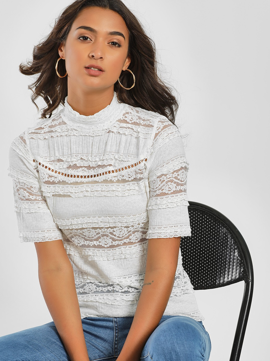 Only White High Neck Lace Blouse 1