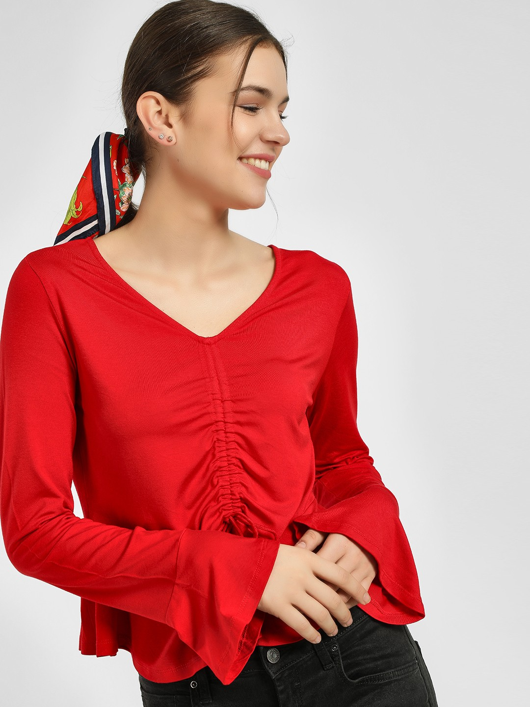 KOOVS Red Ruched Front Crop Top 1